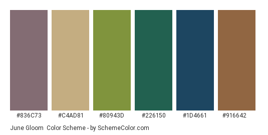 June Gloom - Color scheme palette thumbnail - #836c73 #c4ad81 #80943d #226150 #1d4661 #916642