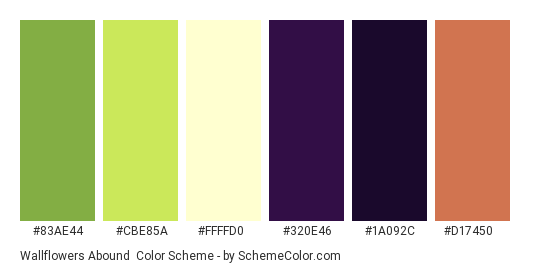 Wallflowers Abound - Color scheme palette thumbnail - #83ae44 #cbe85a #ffffd0 #320e46 #1a092c #d17450
