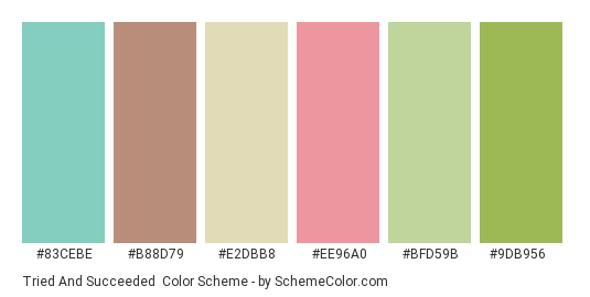 Tried and Succeeded - Color scheme palette thumbnail - #83cebe #b88d79 #e2dbb8 #ee96a0 #bfd59b #9db956
