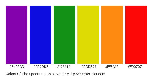 Colors of the Spectrum - Color scheme palette thumbnail - #8402ad #0d0ddf #129114 #dddb03 #ff8a12 #fd0707