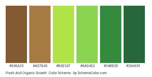 Fresh and Organic Growth - Color scheme palette thumbnail - #845A33 #A57B43 #B0E347 #8AD452 #348B3D #266839