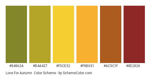 Love for Autumn - Color scheme palette thumbnail - #84862a #b4a427 #f5ce32 #f8b031 #ac5c1f #8e2826
