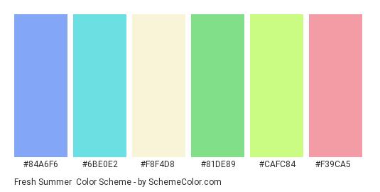 Fresh Summer - Color scheme palette thumbnail - #84a6f6 #6be0e2 #f8f4d8 #81de89 #cafc84 #f39ca5