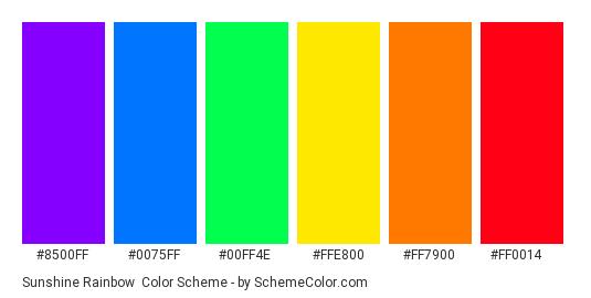 Sunshine Rainbow - Color scheme palette thumbnail - #8500ff #0075ff #00ff4e #ffe800 #ff7900 #ff0014