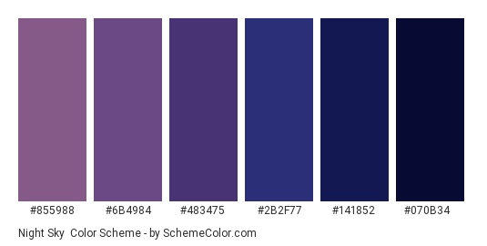 Night Sky Color Scheme » Blue » SchemeColor.com