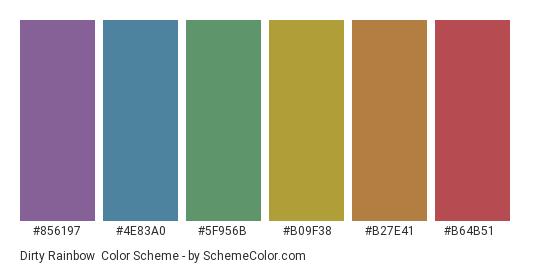 Dirty Rainbow - Color scheme palette thumbnail - #856197 #4e83a0 #5f956b #b09f38 #b27e41 #b64b51