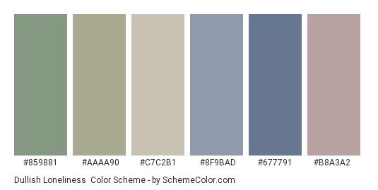 Dullish Loneliness - Color scheme palette thumbnail - #859881 #aaaa90 #c7c2b1 #8f9bad #677791 #b8a3a2