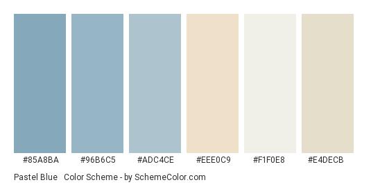 Pastel Blue & Pearl - Color scheme palette thumbnail - #85a8ba #96b6c5 #adc4ce #eee0c9 #f1f0e8 #e4decb