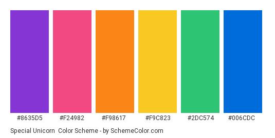 Special Unicorn - Color scheme palette thumbnail - #8635d5 #f24982 #f98617 #f9c823 #2dc574 #006cdc