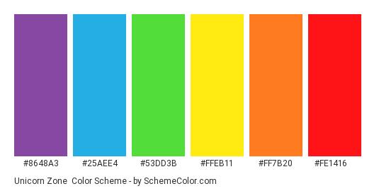 Unicorn Zone - Color scheme palette thumbnail - #8648a3 #25aee4 #53dd3b #ffeb11 #ff7b20 #fe1416