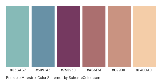 Possible Maestro - Color scheme palette thumbnail - #86BAB7 #6891A6 #753960 #AB6F6F #C99381 #F4CDA8