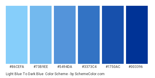 Light Blue to Dark Blue - Color scheme palette thumbnail - #86cefa #73b9ee #5494da #3373c4 #1750ac #003396