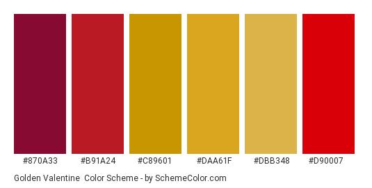 Golden Valentine - Color scheme palette thumbnail - #870a33 #b91a24 #c89601 #daa61f #dbb348 #d90007