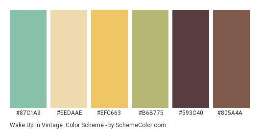 Wake Up in Vintage - Color scheme palette thumbnail - #87c1a9 #eedaae #efc663 #b6b775 #593c40 #805a4a