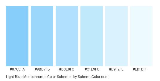 Light Blue Monochrome - Color scheme palette thumbnail - #87cefa #9bd7fb #b0e0fc #c1e9fc #d9f2fe #edfbff
