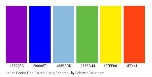 Italian Peace Flag Colors - Color scheme palette thumbnail - #8800bb #0000ff #88bbdd #66bb44 #ffee00 #ff4411