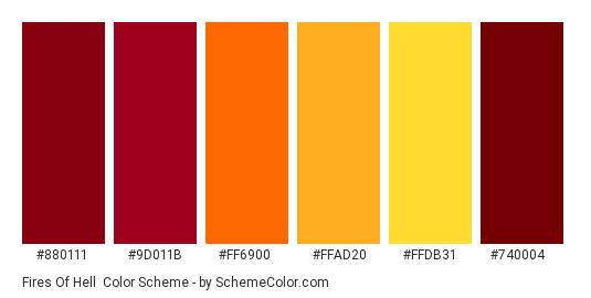Fires of Hell - Color scheme palette thumbnail - #880111 #9d011b #ff6900 #ffad20 #ffdb31 #740004