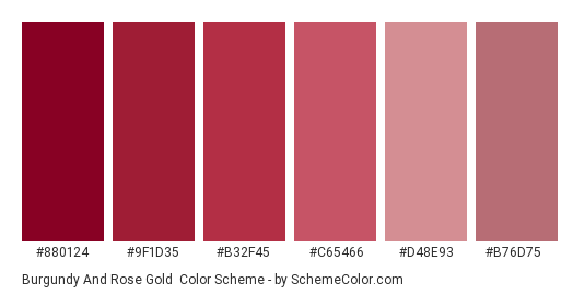 Burgundy and Rose Gold - Color scheme palette thumbnail - #880124 #9F1D35 #B32F45 #c65466 #d48e93 #b76d75
