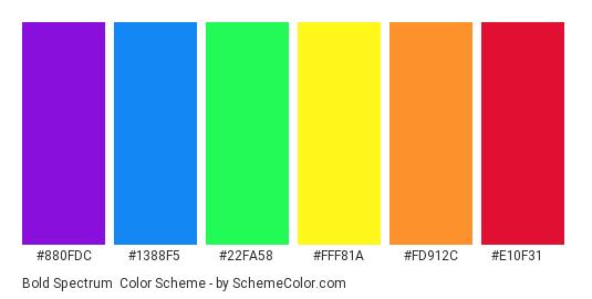 Bold Spectrum - Color scheme palette thumbnail - #880fdc #1388f5 #22fa58 #fff81a #fd912c #e10f31