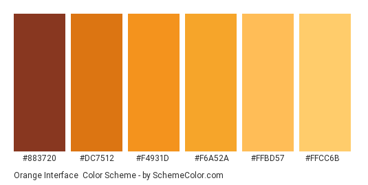 Orange Interface - Color scheme palette thumbnail - #883720 #dc7512 #f4931d #f6a52a #ffbd57 #ffcc6b
