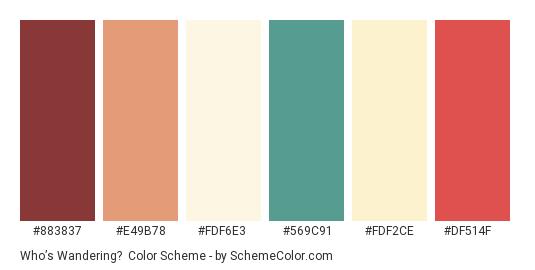 Who's Wandering? - Color scheme palette thumbnail - #883837 #E49B78 #FDF6E3 #569C91 #FDF2CE #DF514F