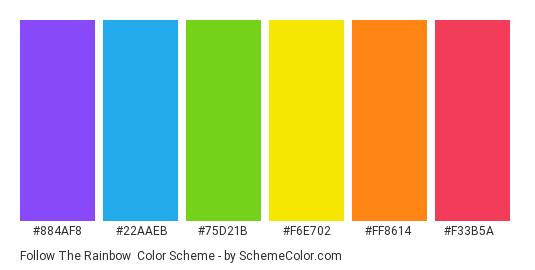 Follow the Rainbow - Color scheme palette thumbnail - #884af8 #22aaeb #75d21b #f6e702 #ff8614 #f33b5a