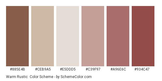 Warm Rustic - Color scheme palette thumbnail - #885e4b #ceb9a5 #e5ddd5 #c39f97 #a96e6c #934c47