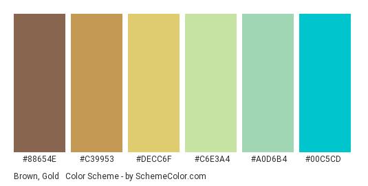 Brown, Gold & Turquoise - Color scheme palette thumbnail - #88654E #C39953 #DECC6F #C6E3A4 #A0D6B4 #00C5CD
