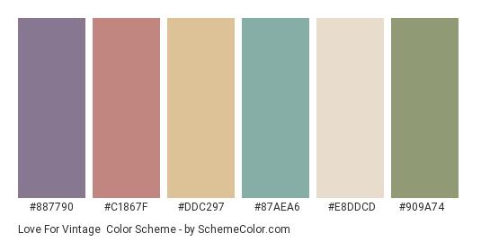 Love for Vintage - Color scheme palette thumbnail - #887790 #c1867f #ddc297 #87aea6 #e8ddcd #909a74