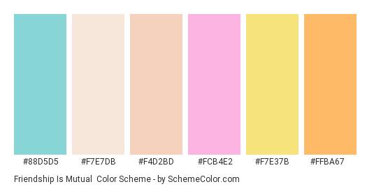Friendship is Mutual - Color scheme palette thumbnail - #88d5d5 #f7e7db #f4d2bd #fcb4e2 #f7e37b #ffba67