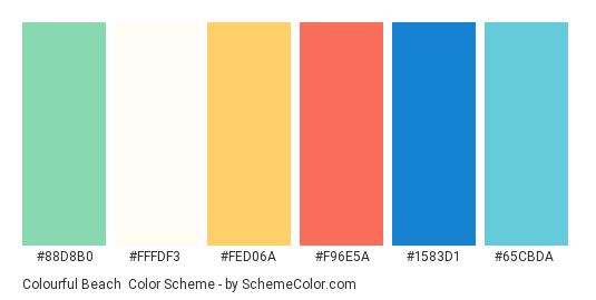 Colourful Beach - Color scheme palette thumbnail - #88d8b0 #fffdf3 #fed06a #f96e5a #1583d1 #65cbda