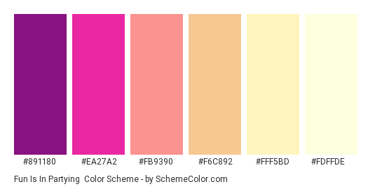 Fun is in Partying - Color scheme palette thumbnail - #891180 #EA27A2 #FB9390 #F6C892 #FFF5BD #FDFFDE