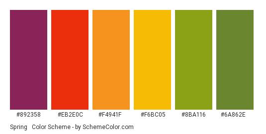 Spring & Autumn - Color scheme palette thumbnail - #892358 #eb2e0c #f4941f #f6bc05 #8ba116 #6a862e