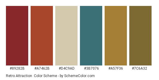 Retro Attraction - Color scheme palette thumbnail - #89282b #a7462b #d4c9ad #3b7076 #a57f36 #7c6a32