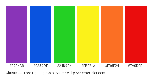 Christmas Tree Lighting - Color scheme palette thumbnail - #8934b8 #0a53de #24d024 #fbf21a #fb6f24 #ea0d0d