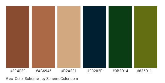 Geo - Color scheme palette thumbnail - #894c30 #ab6946 #d2a881 #00202f #0b3d14 #636d11