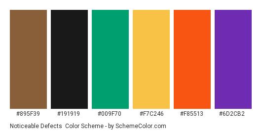 Noticeable Defects - Color scheme palette thumbnail - #895f39 #191919 #009f70 #f7c246 #f85513 #6d2cb2