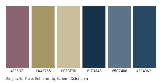 Singleville - Color scheme palette thumbnail - #896371 #a49765 #c9bf9d #17334b #5c7486 #294962