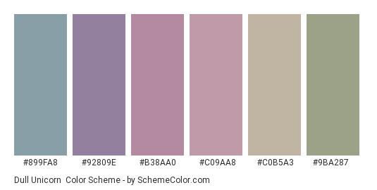 Dull Unicorn - Color scheme palette thumbnail - #899fa8 #92809e #b38aa0 #c09aa8 #c0b5a3 #9ba287