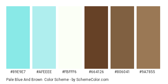 Pale Blue and Brown - Color scheme palette thumbnail - #89e9e7 #afeeee #fbfff6 #664126 #806041 #9a7855