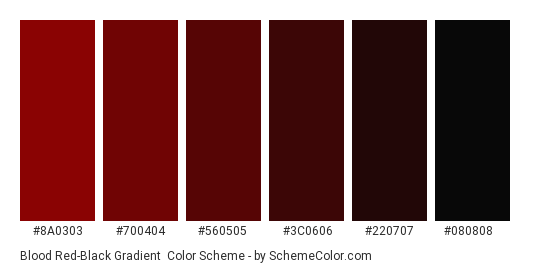 Blood Red-Black Gradient - Color scheme palette thumbnail - #8A0303 #700404 #560505 #3C0606 #220707 #080808