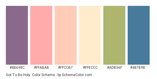 Got to be Holy - Color scheme palette thumbnail - #8B698C #FFABAB #ffccb7 #ffeccc #adb56f #487b9b