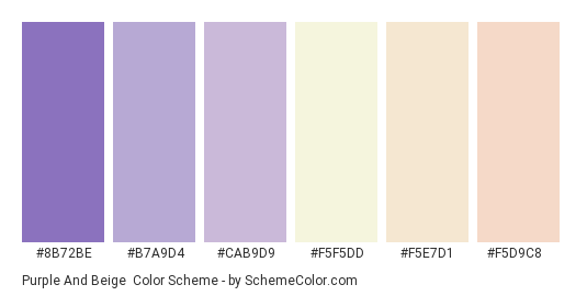 Purple and Beige - Color scheme palette thumbnail - #8B72BE #B7A9D4 #CAB9D9 #F5F5DD #F5E7D1 #F5D9C8