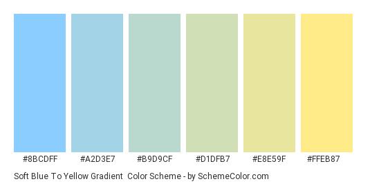 Soft Blue to Yellow Gradient - Color scheme palette thumbnail - #8BCDFF #A2D3E7 #B9D9CF #D1DFB7 #E8E59F #FFEB87