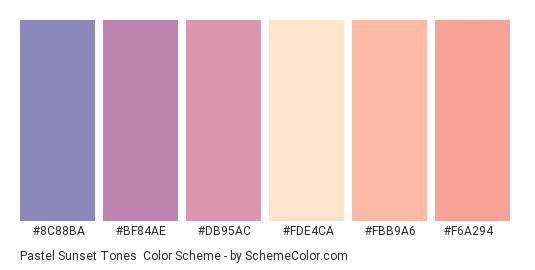 Pastel Sunset Tones - Color scheme palette thumbnail - #8C88BA #BF84AE #DB95AC #FDE4CA #FBB9A6 #F6A294
