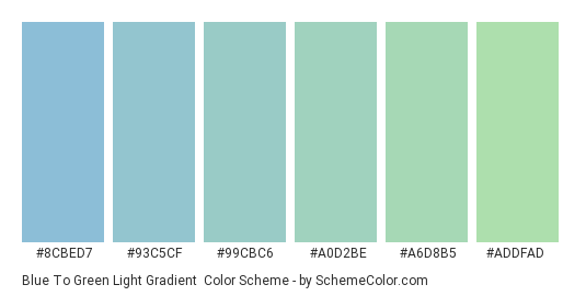 Blue to Green Light Gradient - Color scheme palette thumbnail - #8CBED7 #93C5CF #99CBC6 #A0D2BE #A6D8B5 #ADDFAD