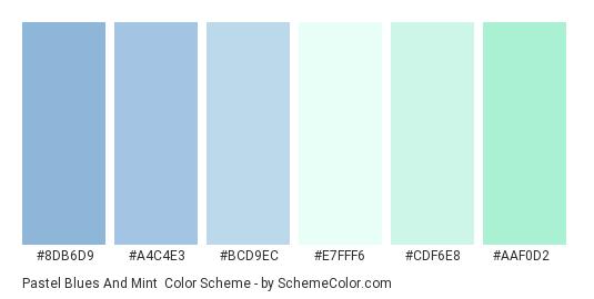 Pastel Blues and Mint - Color scheme palette thumbnail - #8DB6D9 #A4C4E3 #BCD9EC #E7FFF6 #CDF6E8 #AAF0D2