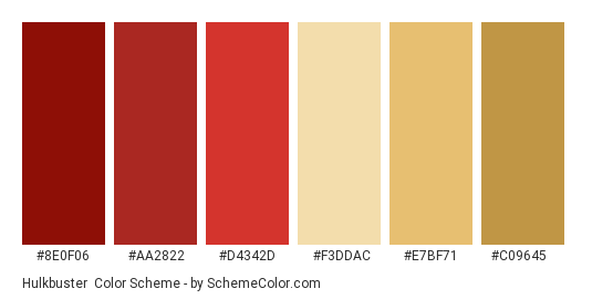 Hulkbuster - Color scheme palette thumbnail - #8E0F06 #AA2822 #D4342D #F3DDAC #E7BF71 #C09645