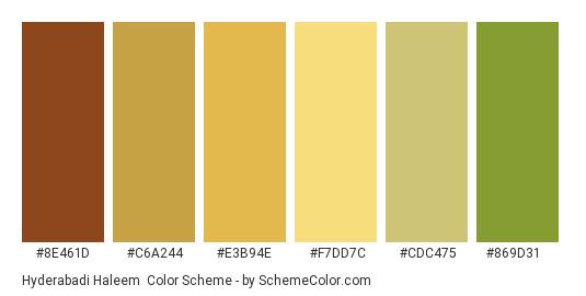 Hyderabadi Haleem - Color scheme palette thumbnail - #8E461D #C6A244 #E3B94E #F7DD7C #CDC475 #869D31
