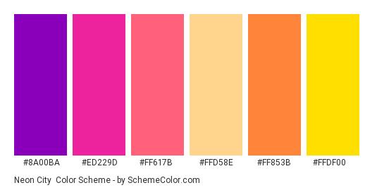 Neon City - Color scheme palette thumbnail - #8a00ba #ed229d #ff617b #ffd58e #ff853b #ffdf00